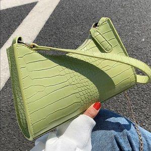 Handbags - New Croc green Embossed Tote Bag vegan faux fur